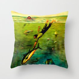 Catching a Blue-fin Tuna Throw Pillow
