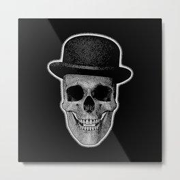 skull with bowler hat Metal Print