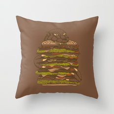 Godzilla vs Hamburger Throw Pillow