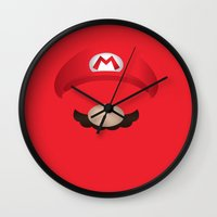 mario Wall Clocks featuring Mario by Aaron Macias