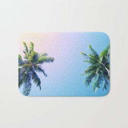 Coco Palm Trees on Pink Blue Sky Bath Mat