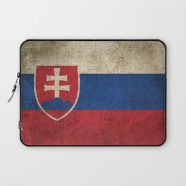 Old and Worn Distressed Vintage Flag of Slovakia Laptop Sleeve