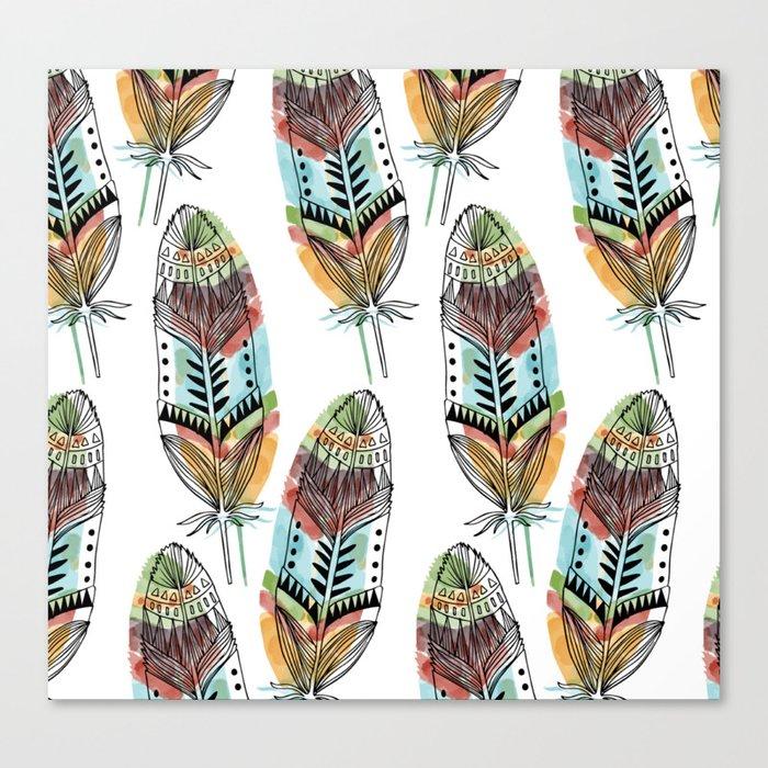 Aztec Watercolor feathers Canvas Print