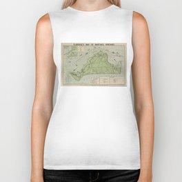 Vintage Map of Marthas Vineyard (1913) Biker Tank