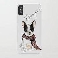 craftberrybush iPhone & iPod Cases featuring Joyeux Noel Frenchie Dog by craftberrybush
