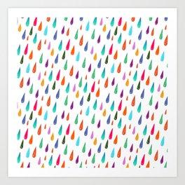 Modern rainbow colors watercolor rain drops pattern Art Print