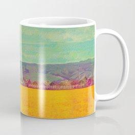 Teal Sky, Indigo Mountains, Mustard Plants, Colorful Houses Coffee Mug