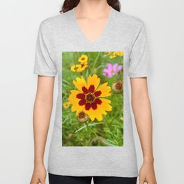Yellow and Wine Coreopsis Flower-Floral Photography Unisex V-Neck