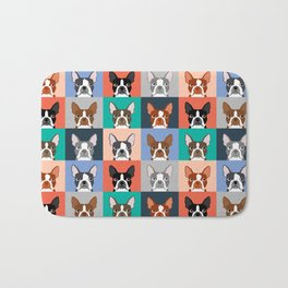 Boston Terriers tile pattern cute boston terrier puppies funny dog breed pet art gift for dog person Bath Mat