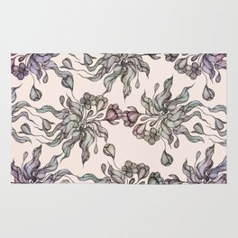 Vintage floral seamless pattern with hand drawn coloring  crocus Rug