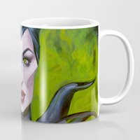 maleficent Mugs featuring Maleficent by Megan Mars