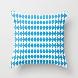 Oktoberfest Bavarian Blue and White Large Diagonal Diamond Pattern Throw Pillow