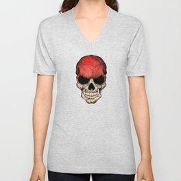 Dark Skull with Flag of Indonesia Unisex V-Neck
