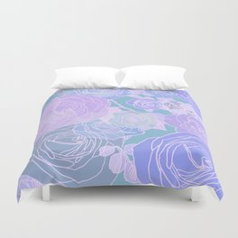 Preppy Purple and Seafoam Green Abstract Contemporary Romantic Roses Duvet Cover