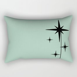 1950s Atomic Age Retro Starburst in Mint Green and Black 2 Rectangular Pillow