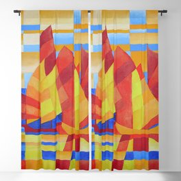 Sailing on the Seven Seas so Blue Cubist Abstract Blackout Curtain