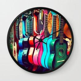 las guitarras. spanish guitars, Los Angeles photograph Wall Clock