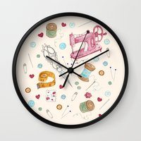 sewing Wall Clocks featuring Sewing by Epoque Graphics