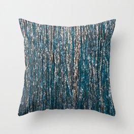 GOLD BLUE METALLIC RIBBONS TEXTURE Throw Pillow