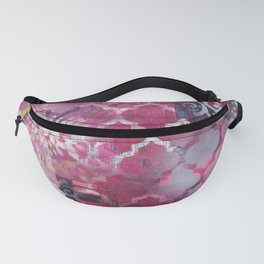Mixed Media Layered Patterns - Deep Fuchsia Fanny Pack