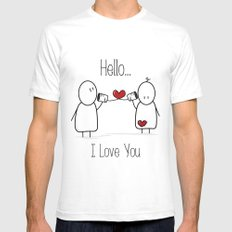 Hello I Love You SMALL White Mens Fitted Tee