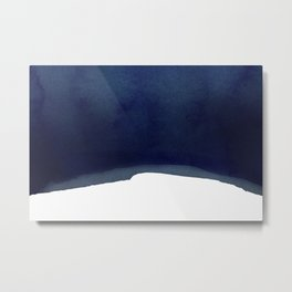 Minimal Navy Blue Abstract 02 Landscape Metal Print