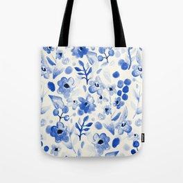 Blue China - Watercolor Floral Tote Bag