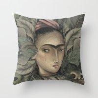 frida kahlo Throw Pillows featuring Frida Kahlo by Antonio Lorente