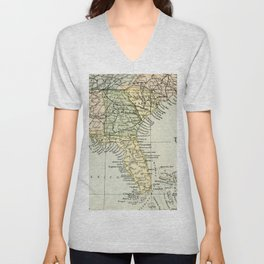 Vintage Map of the South Of The United States Of America Unisex V-Neck