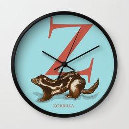 Z is for Zorrilla: Under Appreciated Animals™ ABC nursery decor bright blue unusual animals Wall Clock