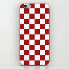 Cranberry Red and White Checkerboard Pattern iPhone Skin