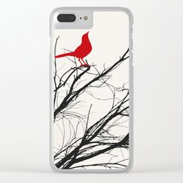 Red Bird on a Branch A533 Clear iPhone Case