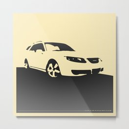 Saab 9-5 Aero, front view, charcoal on cream Metal Print