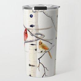 Birch Trees and Cardinal Travel Mug