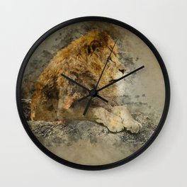 Lion on the rocks Wall Clock