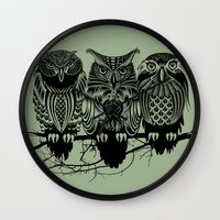 city Wall Clocks featuring Owls of the Nile by Rachel Caldwell