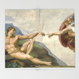 Michelangelo - Creation of Adam Throw Blanket