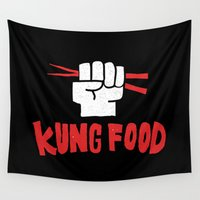 food Wall Tapestries featuring KUNG FOOD by Matthew Taylor Wilson