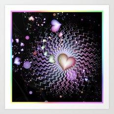 Rainbow Hearts At Night Art Print