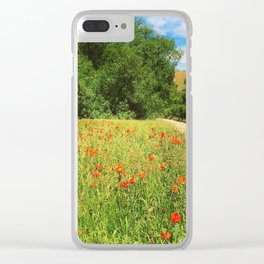 Wildflower Poppy Fields Wasatch Mountains Utah Clear iPhone Case