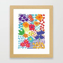 Colorful flowers and Shapes Framed Art Print