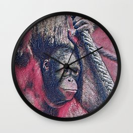 GlitzyAnimal_OrangUtan_002_by_JAMColors Wall Clock
