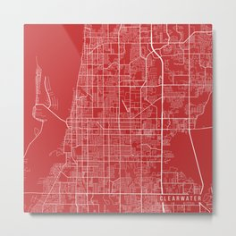 Clearwater Map, USA - Red Metal Print