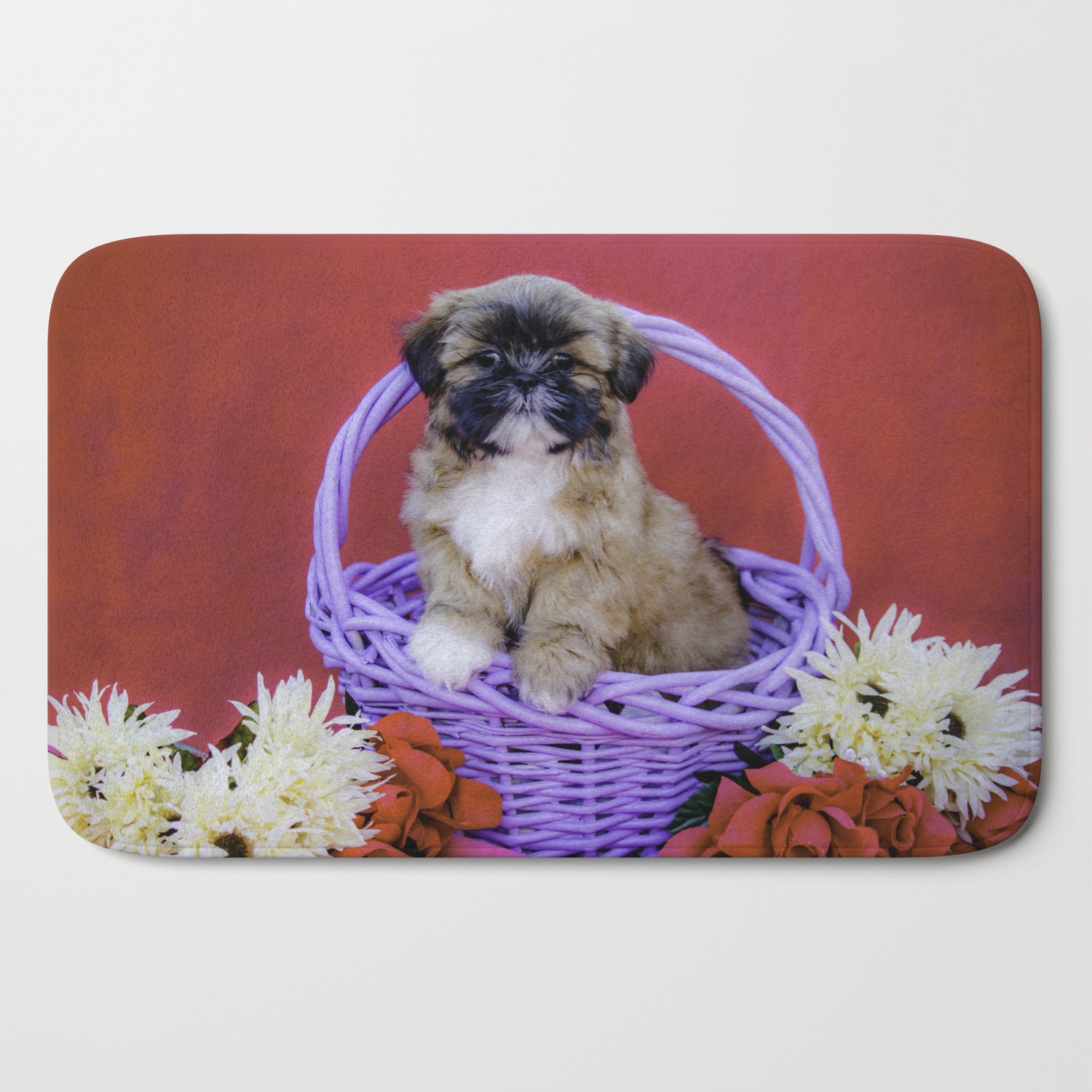 Brown And White Shih Tzu Puppy Standing In A Purple Basket With Flowers In Front Of A Red Background Bath Mat By Wespeakpuppy Society6