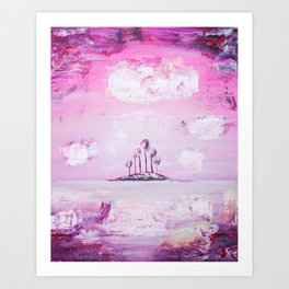 Pink Island - Whimsical Painting by Myles Katherine Art Print