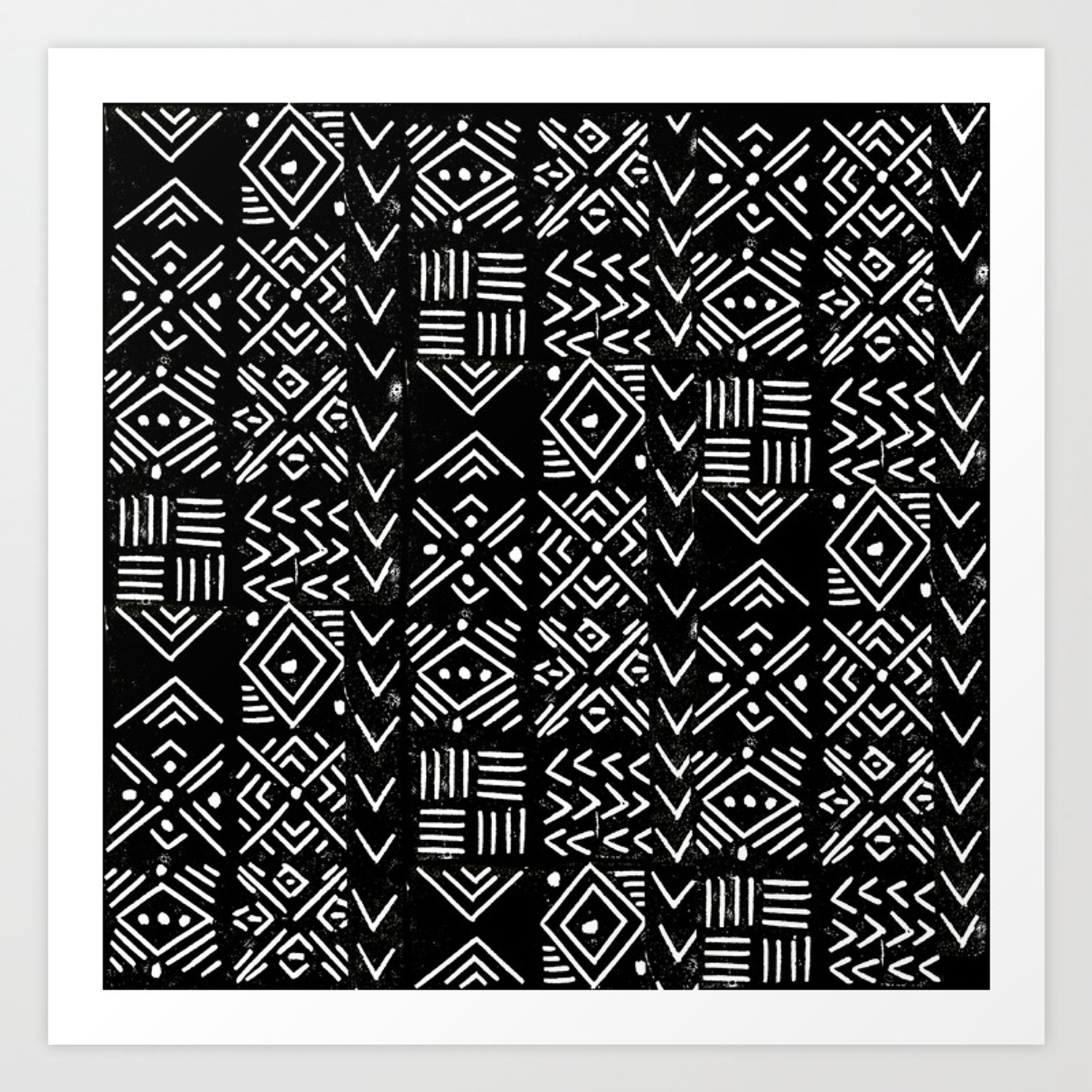 Mudcloth 3 Black And White Minimal Pattern Linocut Print Abstract Art Print