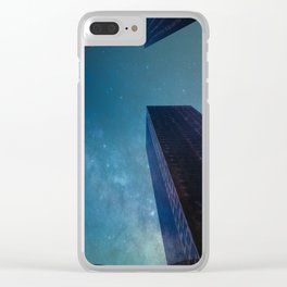 Sky-scraping to Space (Blue) Clear iPhone Case