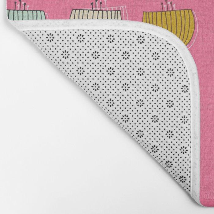 flower cups pink Bath Mat