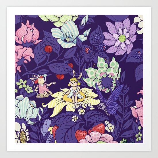Garden party - blueberry tea version Art Print