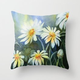 Daisies Watercolor Abstract Flowers Throw Pillow